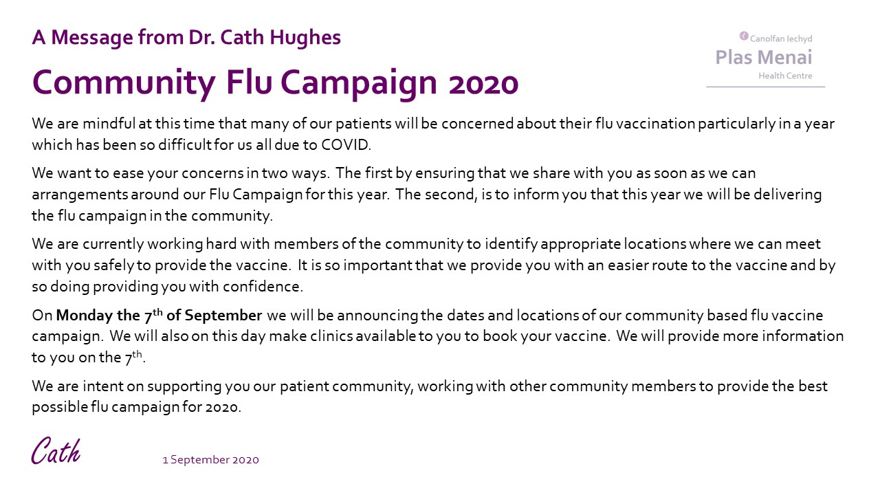 Flu Campaign 2020 Message from Dr Cath Hughes
