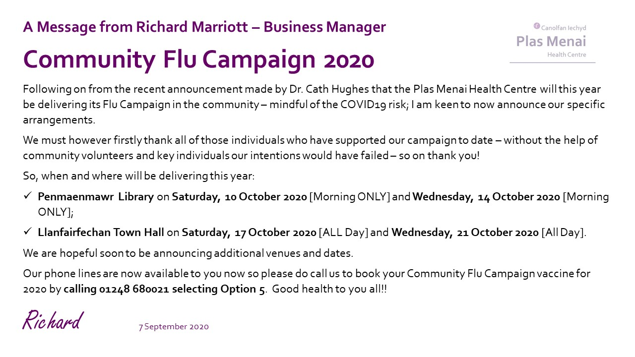 Flu 2020 - Dates and Venues